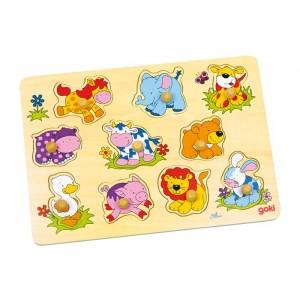 GOKI Puzzle drewniane z uchwytami - zwierzęta (Z0009)